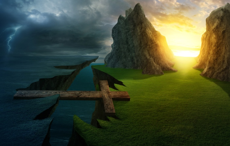 A cross forms a bridge over the cliff into a bright landscape.