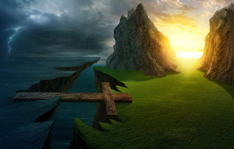 A cross forms a bridge over the cliff into a bright landscape.