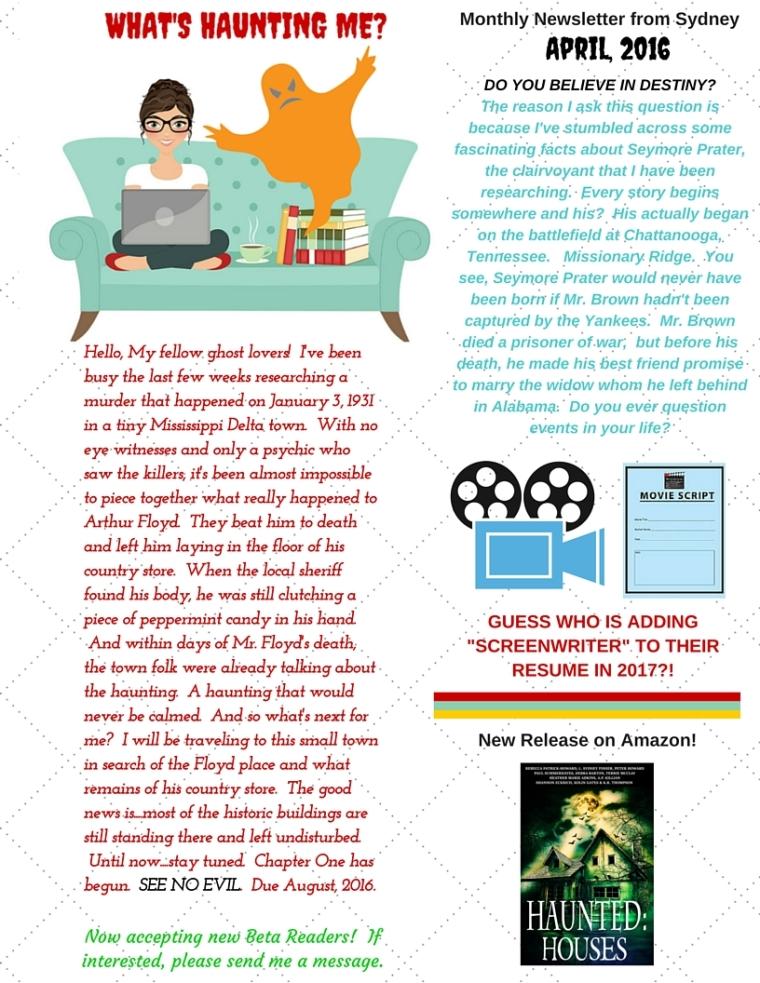 Newsletter, April, 2016